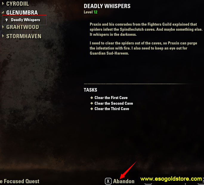 To abandon deadlty whispers in eso