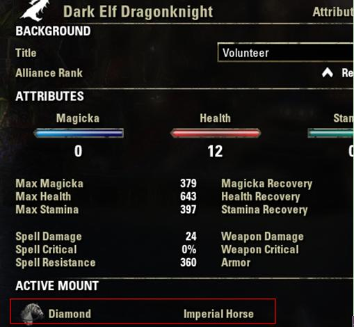 eso character attribute Palette
